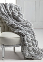 Iced Gray | Grey Mink - Luxaire Faux Fur Throw - Natural look & Luxuriously Soft - 83 Inch Oversized