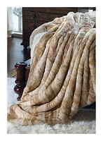 Palomino Mink - Luxaire Faux Fur Throw - Natural look & Luxuriously Soft - 71 Inch Extra Large