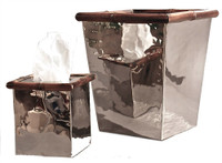 Contemporary Steel with Bamboo Accents, 9 Inch Square Wastebasket, Polished Nickel Finish