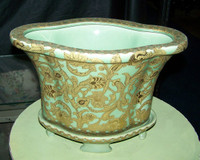 Celadon Green and Gold Arabesque - Luxury Handmade Reproduction Chinese Porcelain - 14 Inch Planter | Centerpiece - Style 47