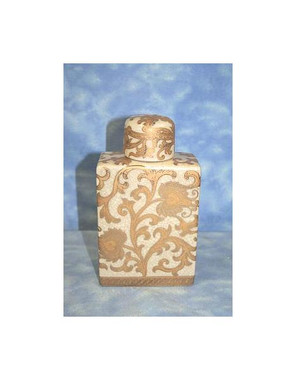 Ivory and Gold Lotus Scroll Arabesque - Luxury Handmade Reproduction Chinese Porcelain - Customizable 6 Inch Square Shaped Decorative Covered Jar Style E94