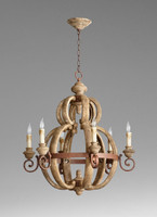 An Italian Farmhouse Style - 29.5 Inch Wrought Iron and Wood Six Light Chandelier - Rustic | Distressed Finish