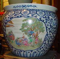 Blue and White French Figural Scene - Luxury Handmade Reproduction Chinese Porcelain - 18 Inch Fish Bowl | Planter | Cocktail Table Base Style 35