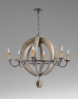 An Italian Farmhouse Style - 29 Inch Solid Wrought Iron and Wood Six Light Orb Chandelier - Stained Wood Finish