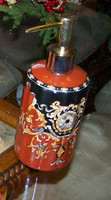 Imperial Red and Ebony Black, Luxury Handmade Reproduction Chinese Porcelain, 6 Inch Lotion or Soap Dispenser, Style G094 or N094