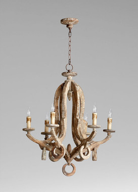 An Italian Farmhouse Style - 28.5 Inch Solid Wood Six Light Chandelier - Shabby Chic | Distressed Finish