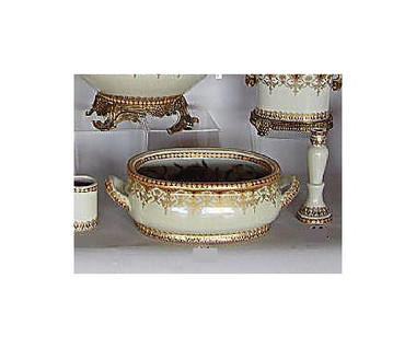 Style 591 - Neo Classical Ivory and Gold - Luxury Handmade Reproduction Chinese Porcelain - 12 Inch Foot Bath | Planter | Centerpiece Style 591