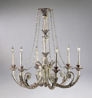 A French Country Style - Wrought Iron - Six Light Chandelier - Distressed Shabby Chic Finish