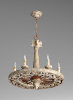A French Country Style   Wagon Wheel - Wood and Wrought Iron - Six Light Chandelier - Rustic Finish