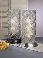 Florentine Cross Hatch Pattern, Indian Brass 17.5 Inch Pillar Candle Holder with Cut Crystal Hurricane Shade, Pewter Finish