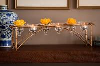 Iron Bamboo, Tealight | Votive Candle Holder, 24 Inch, Rectanguler Shape, Antiqued Gold Finish