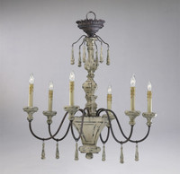 A French Country Style - Wrought Iron - Six Light Chandelier - Shabby Chic | Carriage Barn Finish