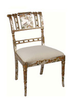 Luxe Life Louis XVI Style, Neo Classical - Hand Painted 35 Inch Occasional | Accent | Side Chair - Metallic Silver Nature Design