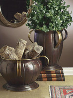 Fine Flute, Indian Brass Round 16 Inch Planter | Vase, Antiqued Copper & Brass Finish