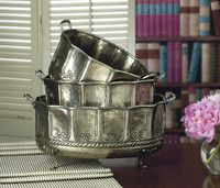 Hammered, Indian Brass Oval Container 3 piece Set, 15 Inch Planter, Antique Silver Finish
