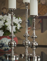 Contemporary Ovals & Orb, Indian Aluminum Pillar Candle Holder Pair, 21 Inch Classic Candlestick, Nickel Finish
