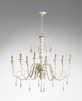 A French Country Style - Wood and Wrought Iron, 34L x 41 Round Eight Light Chandelier - Distressed Shabby Chic Finish with French Blue Accents
