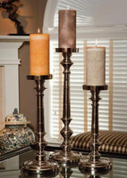 Contemporary, Brass Pillar Candle Pair, 18 Inch Classic Candlestick, Silver Finish