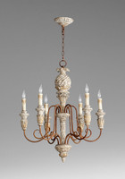 A French Country Style - Turned Wood and Wrought Iron Six Light, 31.5L x 25 Round Chandelier - Distressed Shabby Chic Finish