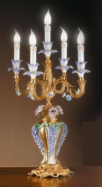 European Reproduction Porcelain Flower Gardens Electric Candelabrum in Gilt Bronze Ormolu - 31.49 Inch - 24 Karat Gold Finish