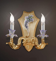 European Reproduction Porcelain Flower Gardens Right Facing Wall Bracket Sconce in Gilt Bronze Ormolu - 15.74 Inch - 24 Karat Gold Finish