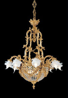 European Reproduction Caryatid Chandelier in Gilt Bronze Ormolu, Swarovski Strass Crystal - 35.43 Inch - 24 Karat Gold Finish
