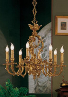 European Reproduction - 18th Century Style, French Regence Chandelier in Gilt Bronze Ormolu - 29.52 Inch 24 Karat Gold Finish