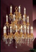 European Reproduction Louis XV Rococo Wall Bracket Sconce in Gilt Bronze Ormolu, Austrian Scholer Crystal - 39.30t x 29.52w x 17.71d | C Scroll Design with 24 Karat Gold Finish | 4031