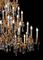 European Reproduction Louis XV Rococo Chandelier in Gilt Bronze Ormolu, Austrian Scholer Crystal - 59t X 59dia. - C Scroll Design with 24 Karat Gold Finish | 4029