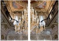 European Reproduction | Louis XV, Rococo, 66 Light Chandelier in Gilt Bronze Ormolu | Austrian Scholer Crystal | 70dia. X 86t | C Scroll Design with 24 Karat Gold Finish | 4030