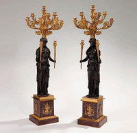 European Reproduction Gilt Bronze Ormolu and Natural Stone, 53.09 Inch Palace Candelabra Pair, 24K Gold & Polychrome Finish