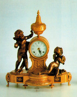 Handmade in Italy - Imperial Fancy d'Oro Ormolu - Desk, Shelf, Mantel, Gambader Putti Clock - Frolicking Putti - Choose Your Finish - 17.32t X 6.29d X 14.56w