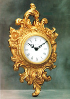 """French Rococo, Louis XV, 17.71"""" Wall Clock, French Gold Gilt - Handmade Reproduction of a 17th, 18th Century Dore Bronze Antique, 4016"""