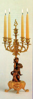 An Imperial Polychrome Italian Brass Ormolu 21.25 Inch, 5 Branch Candelabra Right and Left Facing Set, Handmade Reproduction in French Gold Gilt