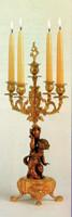 "Polychrome Italian Brass Ormolu 21.25"", 5 light Candelabra Right and Left Facing Set, French Gold Gilt - Handmade Reproduction of a 17th, 18th Century Dore Bronze Antique, 4015"
