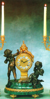 "Verde Delle Alpi Italian Marble and Brass Ormolu, 15.74"" Mantel Clock, French Gold Gilt - Handmade Reproduction of a 17th, 18th Century Dore Bronze Antique, 4011"