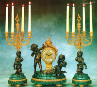 "Antique Style French Louis Garniture, Verde Delle Alpi Italian Marble and Brass Ormolu Mantel Clock, 22.04"" Five Light Candelabra Set, French Gold Gilt, Handmade Reproduction of a 17th, 18th Century Dore Bronze Antique, 4010"