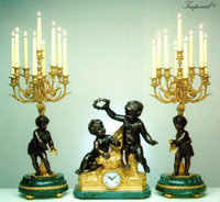 An Imperial Garniture, Verde Delle Alpi, Green Italian Marble and Brass Ormolu Clock 30.70 Inch, 9 Branch Candelabra Set, Handmade Reproduction in French Gold Gilt Patina