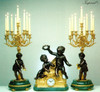 "Antique Style French Louis Garniture, Verde Delle Alpi, Green Italian Marble and Brass Ormolu Mantel Clock 30.70"", Nine Light Candelabra Set, French Gold Gilt Patina, Handmade Reproduction of a 17th, 18th Century Dore Bronze Antique, 4007"