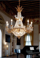 European Reproduction Rococo Chandelier in Gilt Bronze Ormolu, Porcelain Bisque Putti accents and Swarovski Strass Crystal - 49.15 Inch - 24 Karat Gold Finish 3971