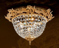European Reproduction Gilt Bronze Ormolu and Swarovski Strass Crystal - 17.71 Inch Ceiling Mount Lighting Fixture 3968