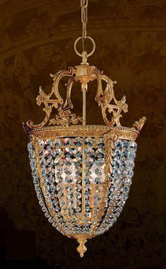 European Reproduction Gilt Bronze Ormolu and Swarovski Strass Crystal - 26.77 Inch Pendant Chandelier 3969