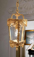 European Reproduction Single Light Gilt Bronze Ormolu and Glass - 19.68 Inch Pendant Chandelier 3967