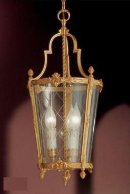 European Reproduction Three Light Gilt Bronze Ormolu and Glass - 21.65 Inch Pendant Chandelier 3966