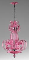 Transparent Tourmaline Scroll Contemporary Glass Chandelier