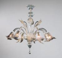 Bellissimi Fiori Pattern - Ice and Golden Teak Six Light Chandelier