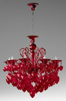 Transparent Ruby Glass Chandelier - Bohemian Chic Style - Eight Lights