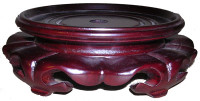 Fancy Low Profile Carved Wood Lotus Stand for Porcelain, 11 Inch Seat