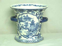 A Blue and White Pagoda - Luxury Handmade Reproduction Chinese Porcelain - 7.5 Inch Decorative Container | Planter Style 67