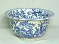 A Blue and White Pagoda - Luxury Handmade Reproduction Chinese Porcelain - 10 Inch Round Bell Shaped Bowl Style 39